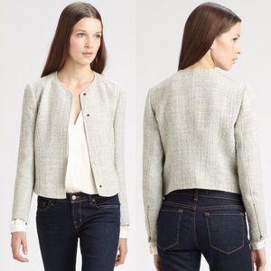 Theory Women's Gray Kielha Tweed Jacket Size 10